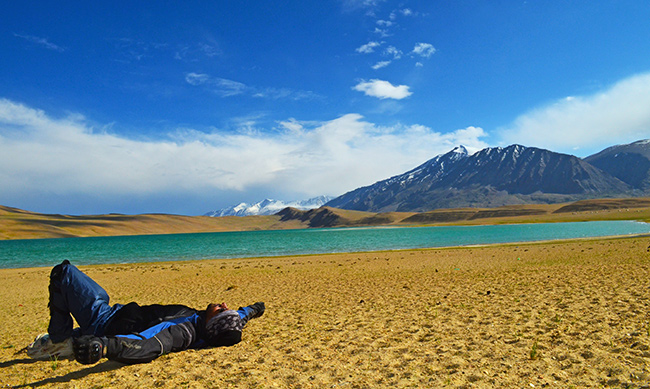 Ladakh Motorcycle Trip - Biker on Kiagar Tso