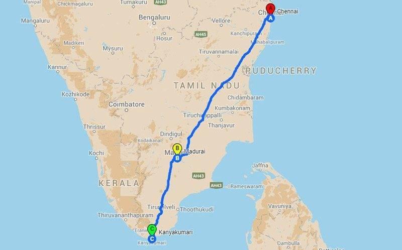 Road Trips from Chennai - Kanyakumari roadtrip Map