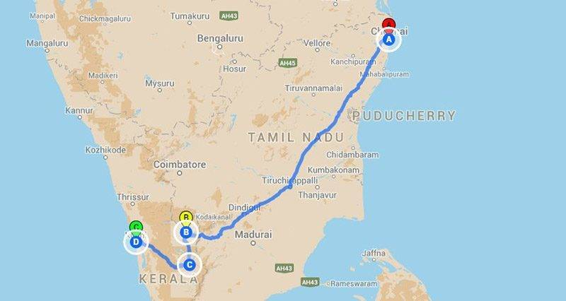 Road Trips from Chennai - Munnar roadtrip Map