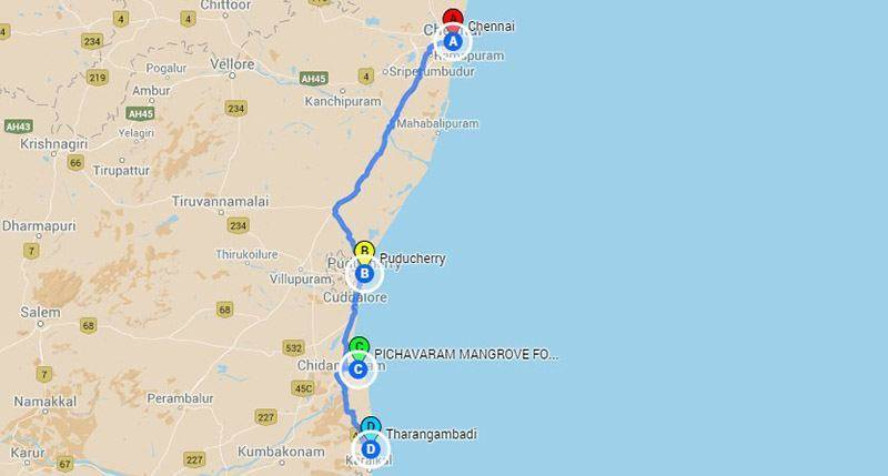 Road Trips from Chennai - Pichavaram roadtrip Map