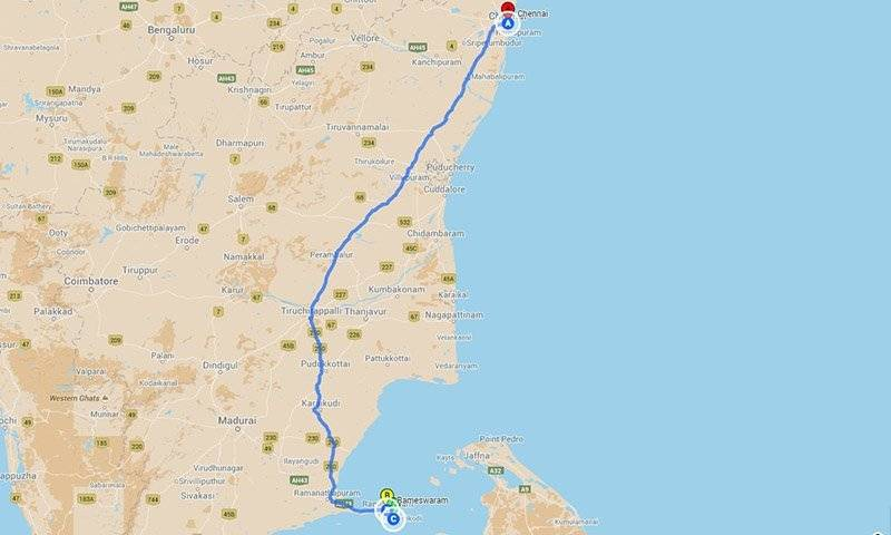 Road Trips from Chennai - Raneshwaram roadtrip Map
