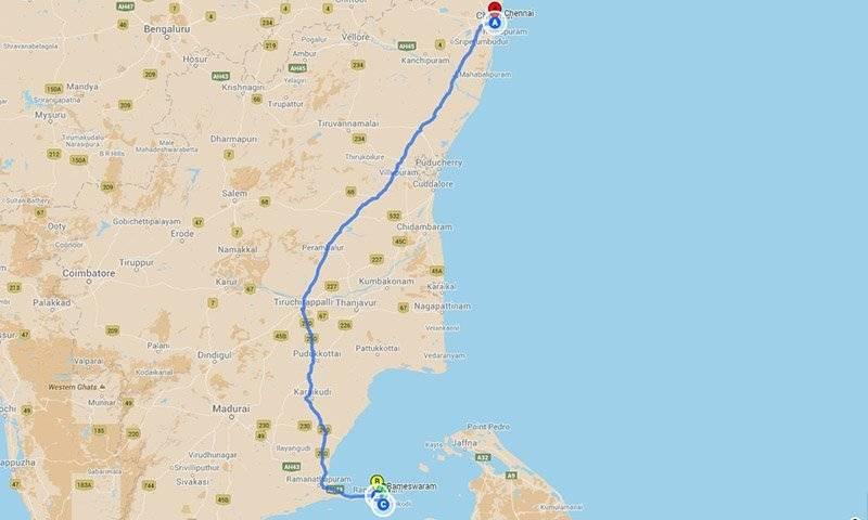 Road Trips from Chennai - Raneshwaram roadtrip Map