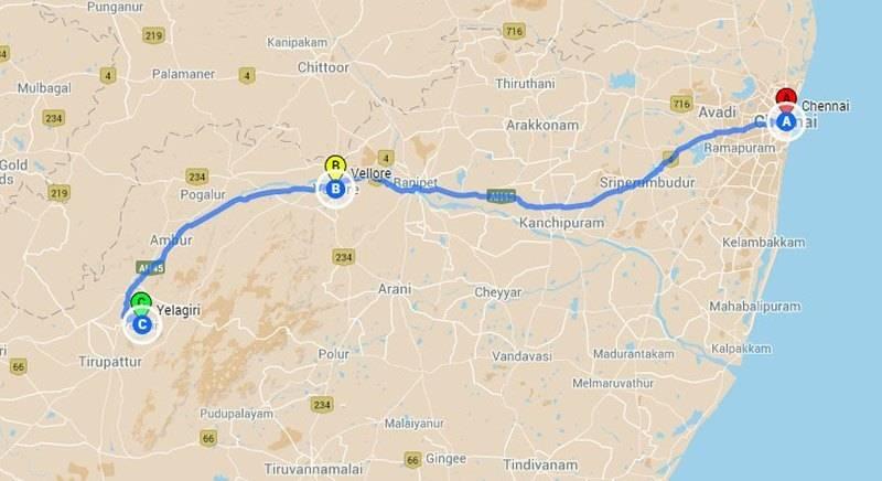 Road Trips from Chennai - Yelagiri roadtrip Map
