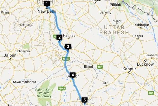 Roadtrips from Delhi - Delhi - Orchha Map