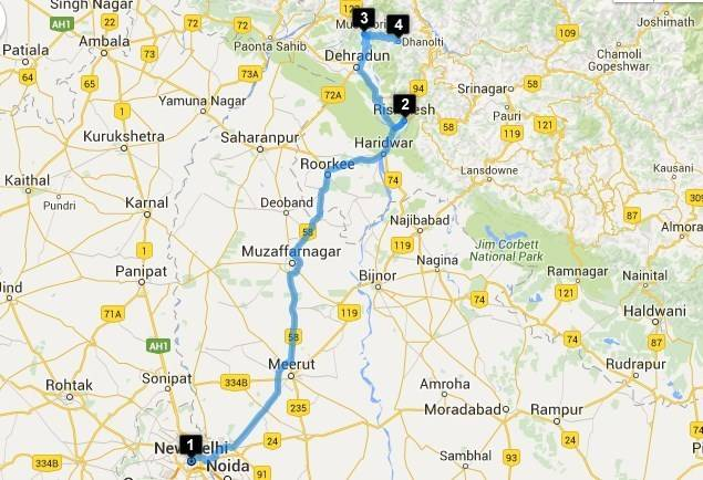 Road Trips from Delhi - Delhi - Rishikesh Map