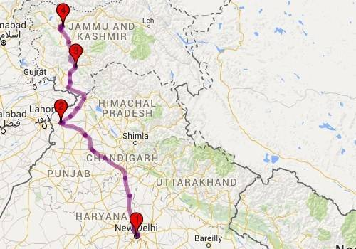 Roadtrips from Delhi - Delhi - Srinagar Map