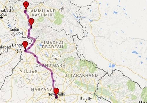 Roadtrips from Delhi - Delhi - Srinagar Map