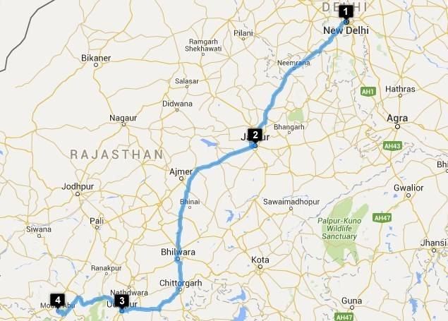 Roadtrips from Delhi - Delhi - Udaipur Map