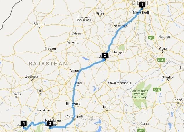 Roadtrips from Delhi - Delhi - Udaipur Map