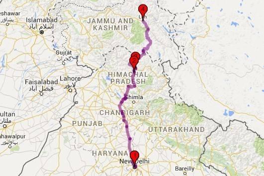 Roadtrips from Delhi - Delhi - Manali Ladakh Map