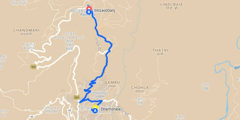 Triund Trek - Complete Guide - Triund Trek Map from Mcleodganj